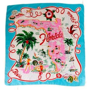VTG 50s Colorful Florida Map Scarf PRE DISNEY